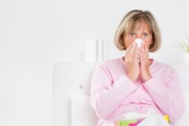 elderly person sick with the flu during flu season