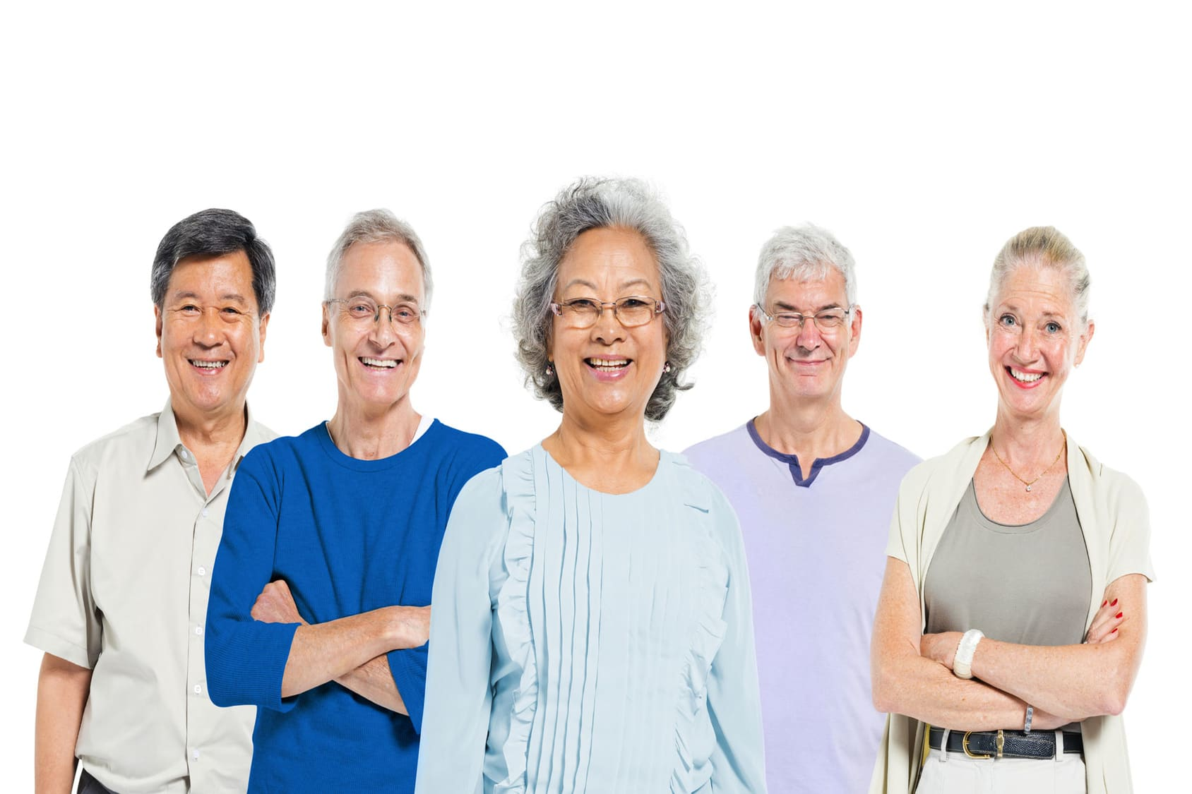A group of elderly men and women standing and smiling for the camera